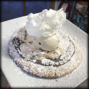 Mini Nutella pizza with a scoop of gelato just for you!